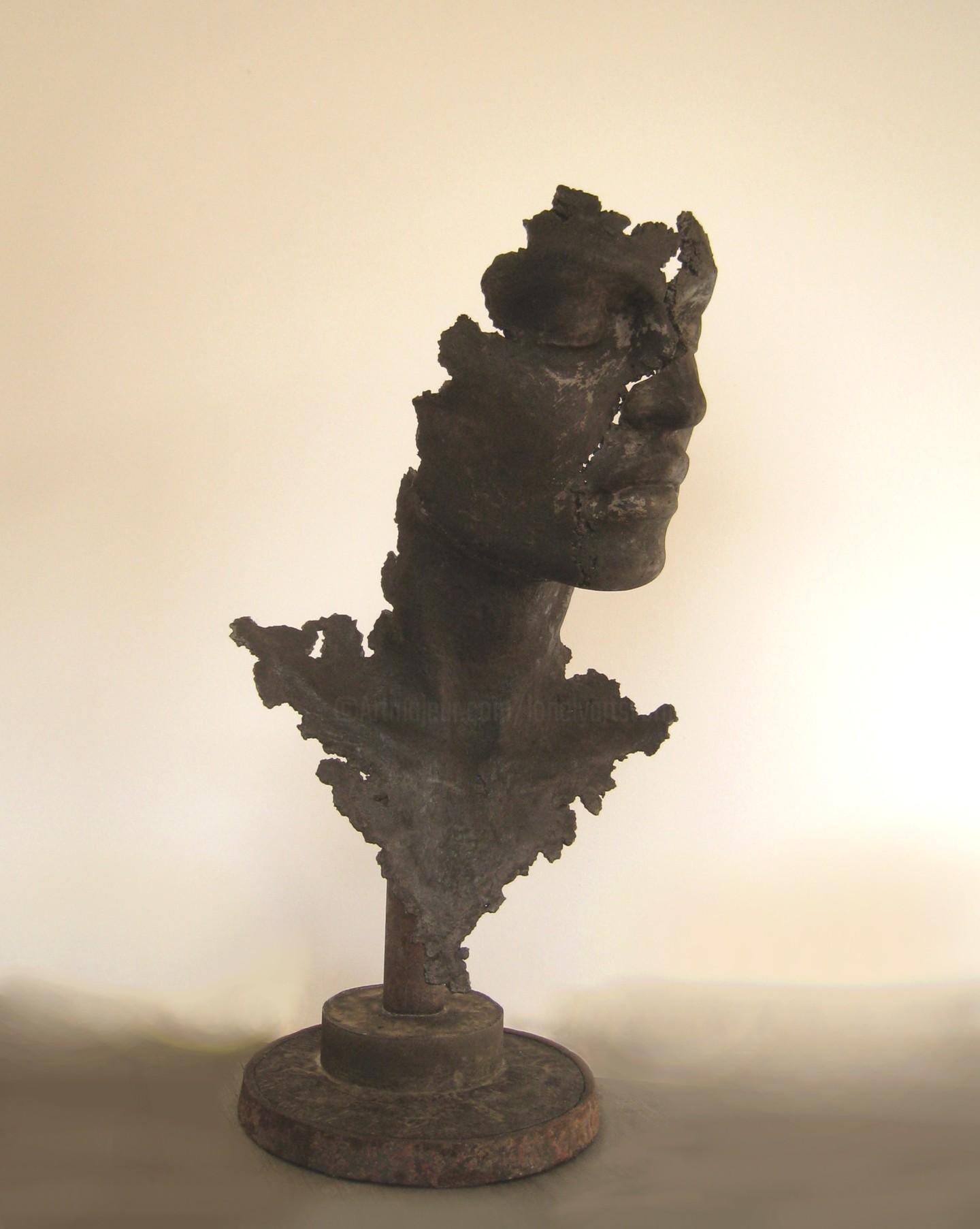 JEAN-YVES VERNE - concrete art - sculpture en ciment -  buste noir