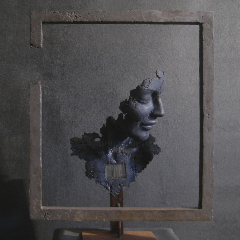 JEAN-YVES VERNE - buste bleu dans un cadre