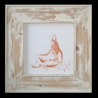 dessin - pastel - femme assise tournée vers la droite