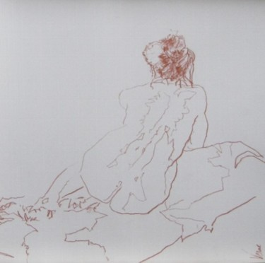dessin - pastel - femme assise de dos