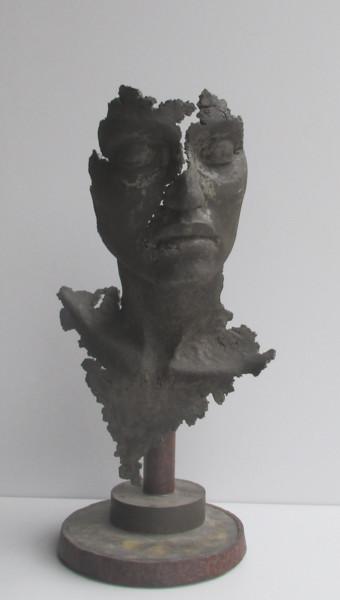 concrete art - sculpture en ciment -  buste noir