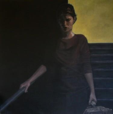 portrait acrylique - femme descendant l'escalier