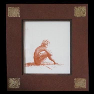 dessin   - pastel sur papier - femme assise